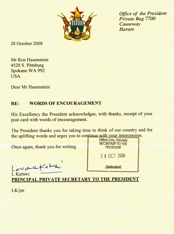 Pray For Zimbabwe 187 Mugabe S Office Responds To Post Cards